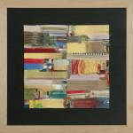 Arte-misio - Formato cm. 80 x 80 Pannnelli di cartone, fili colorati d'ordito, ritagli di tessuto e residui di fine rocca. Tecnica mista.