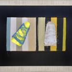 Ginnetti - Formato cm. 67 x 54 Pannelli di cartone, fili colorati d'ordito e residui di fine rocca su cartoncino colorato. Tecnica mista.