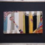 Ponte Rosso - Formato cm. 60 x 52 Pannelli di cartone, fili colorati d'ordito e fili colorati sminuzzati sul feltro. Tecnica mista.