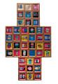 Tanti piccoli tasselli tessuti a formare una croce, richiamo immediato alla luce e alla spiritualità. E nella storia di quest'opera è racchiuso anche un altro luminoso messaggio, quello del traguardo che l'autrice ha raggiunto nel portarla a termine. La luce del suo riconoscimento artistico, agli occhi dei compagni di bottega e di tutti gli spettatori. Formato: 60 x 100 cm - Lana colorata - cornici in legno - tecnica mista