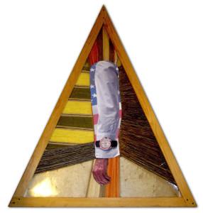 FCA lambs. Formato 100 x 123 cm – Tessuti, fili d'ordito, stampa fotografica. Tecnica mista.